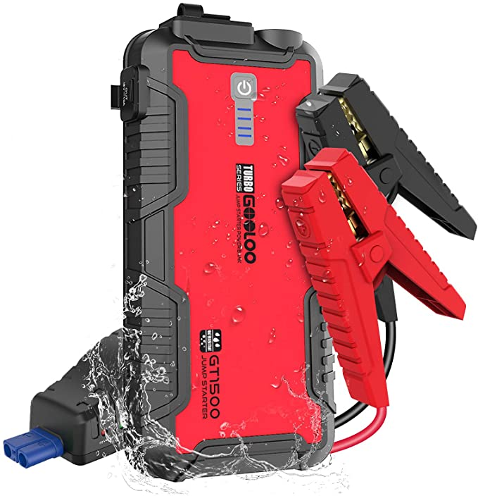 Red and black car jump starter