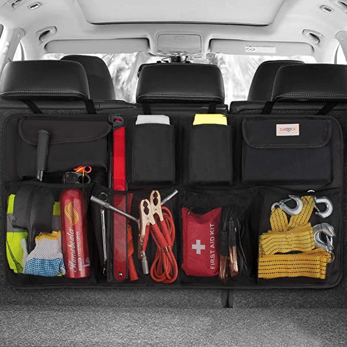 Car trunk organizer on backseat with eight deep pockets